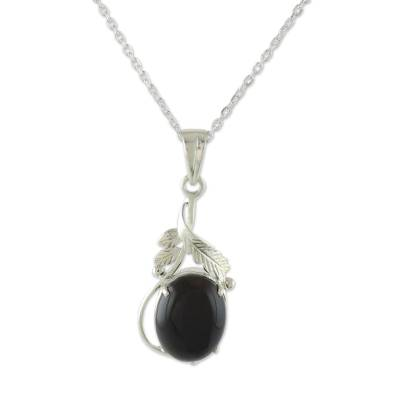 Sterling Silver Necklace with Onyx Leafy Pendant