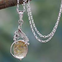Rutilated quartz pendant necklace, 'Mystic Treasure' - Sterling Silver Necklace with Rutilated Quartz Leafy Pendant