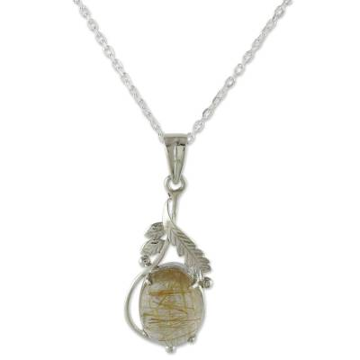 Sterling Silver Necklace with Rutilated Quartz Leafy Pendant