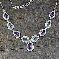 Amethyst and prasiolite Y necklace, 'Goddess' - Amethyst and Prasiolite on Sterling Silver Necklace 15 Cts