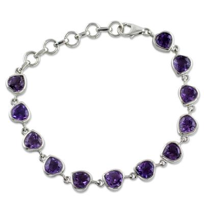 Romantic Amethyst Heart Bracelet