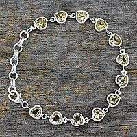 Citrine tennis bracelet, 'Romance All Around' - Romantic Citrine Heart Bracelet