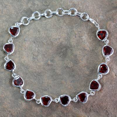 Garnet tennis bracelet, 'Romance All Around' - Romantic Garnet Heart Bracelet