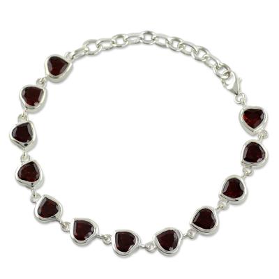 Romantic Garnet Heart Bracelet