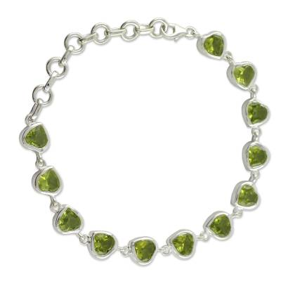 Romantic Peridot Heart Bracelet