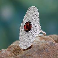 Garnet cocktail ring, 'Love Expression' - Dramatic Garnet Ring