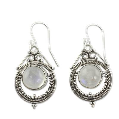 Handcrafted Rainbow Moonstone and Sterling Silver Earrings