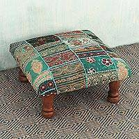 Embellished ottoman, 'Rajasthan Dreams' - Fair Trade Embellished Ottoman Foot Stool from India