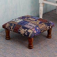 Embellished ottoman, 'Rajasthan Fantasy' - Fair Trade Embellished Ottoman Foot Stool from India