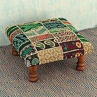 Embellished ottoman, 'Rajasthan Wishes' - Embroidered Indian Ottoman Patchwork Foot Stool