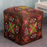 Embroidered cotton ottoman cover, 'Elephant Blooms' - Multi Color Embroidered Cotton Ottoman Cover