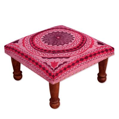 Cotton embroidered foot stool, 'Ruby Mandala' - Pink and Red Cotton Embroidered Foot Stool