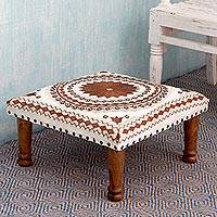 Cotton embroidered foot stool, Topaz Mandala - Brown and Off White Cotton Embroidered Foot Stool