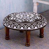 Cotton embroidered foot stool, 'Monochrome Jaipur' - Black and White Embroidered Indian Foot Stool