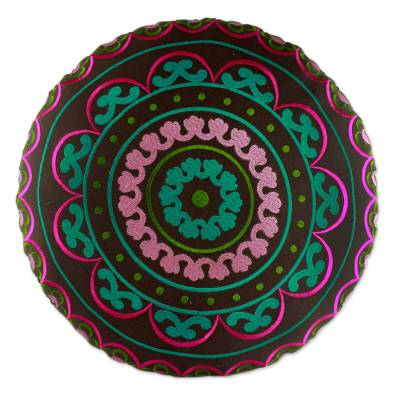 Cotton embroidered foot stool, 'Polychrome Jaipur' - Multicolored Embroidered Indian Foot Stool