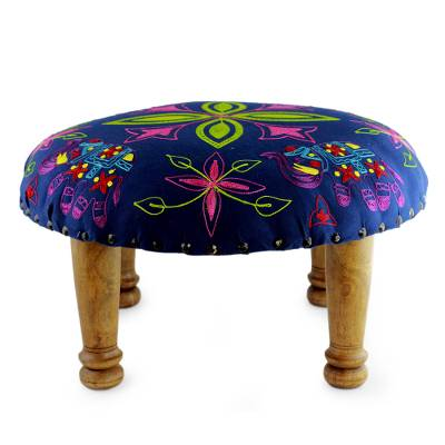 Cotton embroidered foot stool, 'Elephant Blooms' - Multi Color Embroidered Cotton and Wood Foot Stool