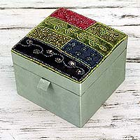Beaded jewelry box, 'Sweet Sparkle' - India Petite Beaded Jewelry Box with Mirror