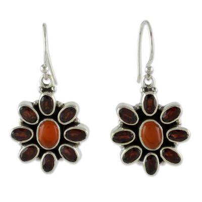 Carnelian Floral Earrings with Garnet Petals