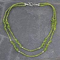 Peridot strand necklace, 'Nature's Charm' - Handcrafted Natural Peridot Double Strand Necklace
