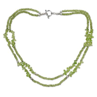 Handcrafted Natural Peridot Double Strand Necklace