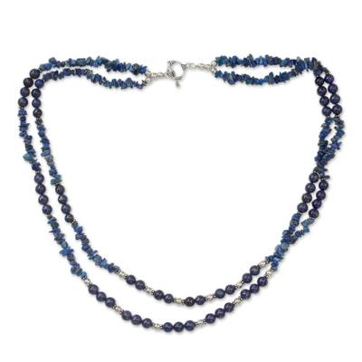 Handcrafted Lapis Lazuli Double Strand Necklace