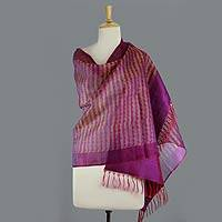 Silk shawl, 'Orchid Fantasy' - Purple Silk Shawl Wrap with Red and Yellow Accents