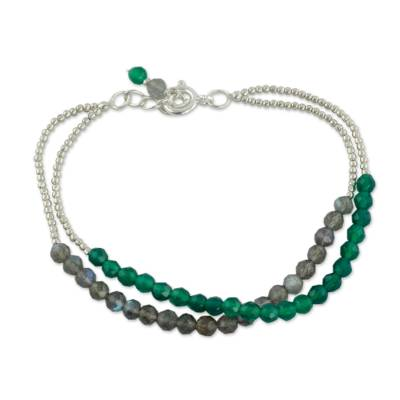 Beaded Silver Bracelet with Labradorite and Green Onyx
