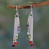 Multi-gemstone chakra earrings 'Flow' - Multi-Gemstone Sterling Silver Earrings Chakra Jewelry