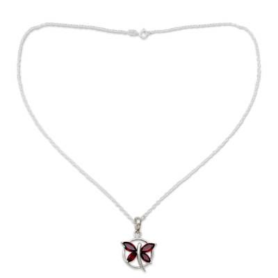 Garnet Butterfly Sterling Silver Necklace