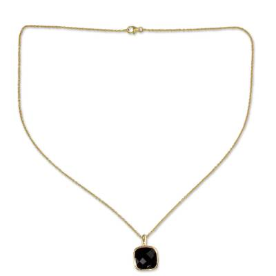 Hand Made Gold Vermeil Faceted Onyx Necklace