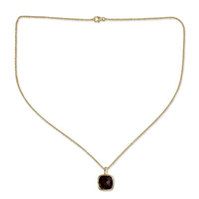 Hand Made Gold Vermeil Faceted Smoky Quartz Necklace