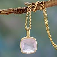Gold vermeil rose quartz pendant necklace, 'Modern Charm' - Hand Made Gold Vermeil Faceted Rose Quartz Necklace