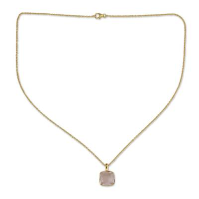 Hand Made Gold Vermeil Faceted Rose Quartz Necklace