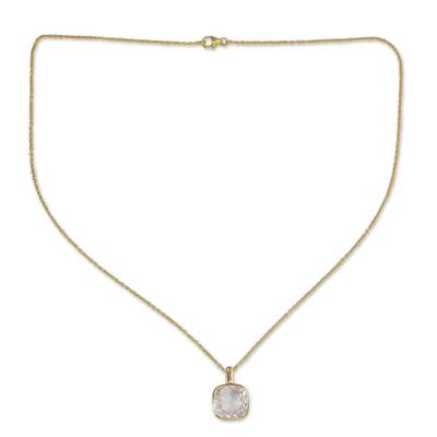 Hand Made Gold Vermeil Faceted Quartz Necklace