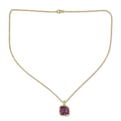Hand Made Gold Vermeil Faceted Amethyst Necklace