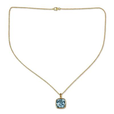 Hand Made Gold Vermeil Faceted Blue Topaz Necklace