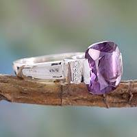 Amethyst single stone ring, 'Orchid Spark' - 4.5 Carat Amethyst on Sterling Silver Ring from India