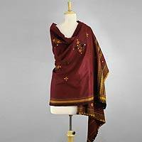 Handwoven shawl, 'Gujarat Muse' - Burgundy Handwoven Gujrati Shawl with Mirror Work