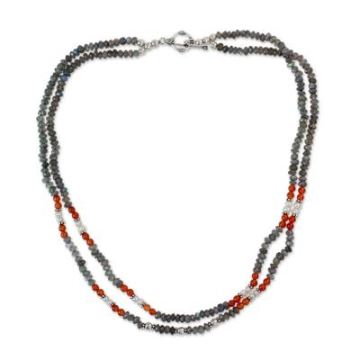Handcrafted Necklace with Labradorite Pearl and Carnelian