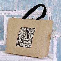Jute tote bag, 'Midnight Owl' - Jute Tote Bag with Cotton Lining and 3 Pockets