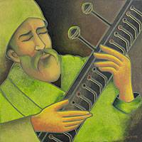 'Music Meditation – Peace' - Realistic Portrait of Man Playing Sitar