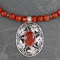Carnelian pendant necklace, 'Mughal Garden' - Indian Carnelian and Sterling Silver Necklace
