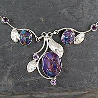 Amethyst Y-necklace, Dew Blossom - Purple Turquoise and Amethyst Handmade Necklace from India