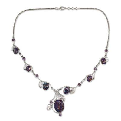 Purple Turquoise and Amethyst Handmade Necklace from India