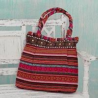 Cotton shoulder bag, 'Pink Gujarat Glam' - Hand-woven Cotton Shoulder Bag