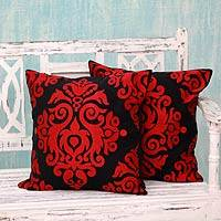 Cotton cushion covers, 'Crimson Beauty' (pair) - Red and Black Embroidered Cotton Cushion Covers (Pair)