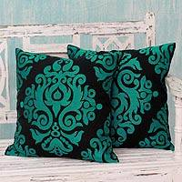Cotton cushion covers, 'Teal Beauty' (pair) - Teal and Black Embroidered Cotton Cushion Covers (Pair)