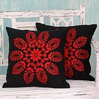 Cotton cushion covers, 'Crimson Splendor' (pair) - Red and Black Embroidered Floral Cushion Covers (Pair)