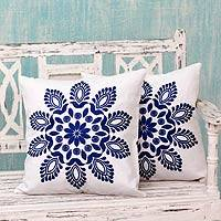 Cotton cushion covers, 'Blue Delhi Splendor' (pair) - Blue and White Embroidered Floral Cushion Covers (Pair)