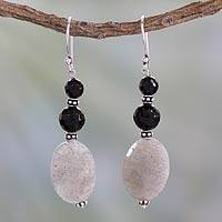 Onyx and labradorite dangle earrings, 'Midnight Mist' - Artisan Made Onyx and Labradorite Earrings